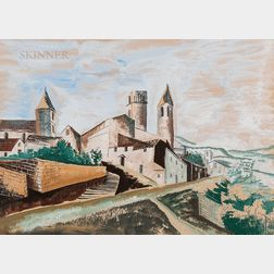 Ossip Zadkine (Russian/French, 1890-1967)      Les trois tours du village ,  View of a Walled Town
