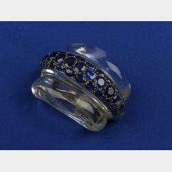 Art Deco Sapphire and Rock Crystal Clip/Brooch