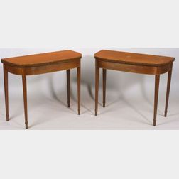 Pair of George III Inlaid Plum Pudding Mahogany Card Tables