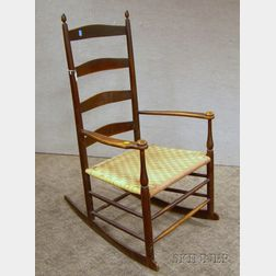 Shaker Production No. 6 Stained Maple Slat-back Armrocker with Woven Tape Seat
