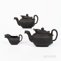Three Black Basalt Wellington Commemorative Tea Wares