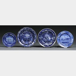 Four Historiacal Blue and White Transfer-decorated Staffordshire Pottery Plates