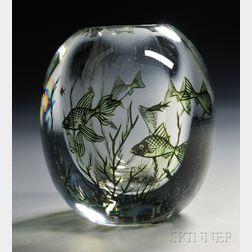 Edward Hald Designed Orrefors Fish Graal Vase