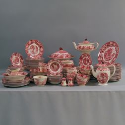Large Wood's Ware Red Transfer Dinner Service