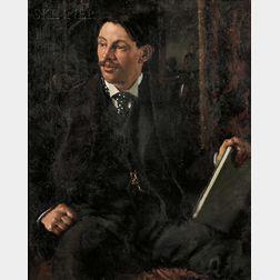 Boston School, 19th/20th Century      Portrait of a Seated Gentleman in a Polka-dot Cravat