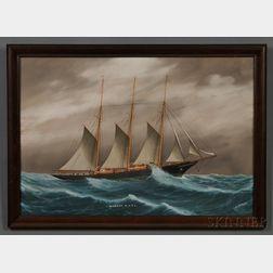 Louis Papaluca (Italian, 1890-1934)      Portrait of the Schooner Yacht MIGRANT   in a Swell.