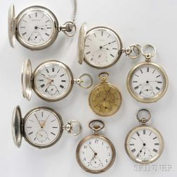 18kt Gold Open-face Watch and Seven Silver Watches