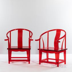 "Two ""Red Quan"" Chairs by JinR from the Green T. House Series"