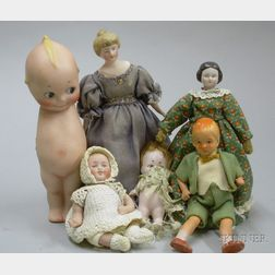 Group of Dollhouse and Small All-Bisque Dolls