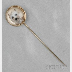 Antique 14kt Gold Reverse-painted Crystal Stickpin