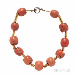 Gold and Coral Bead Necklace