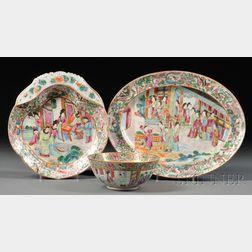 Rose Mandarin Shrimp Dish, Oval Platter, and Small Bowl