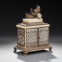 Silver, Gilt-metal, Enamel, and Ivory Table Casket