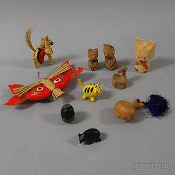 Ten Japanese Mingei   Folk Art Animals and Carvings