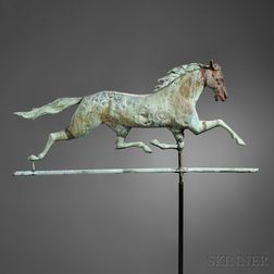 Molded Gilt Copper and Cast Iron Running Horse Weathervane
