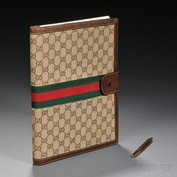 Gucci Canvas and Leather Address Book with Pen