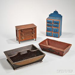 Four Paint-decorated Wooden Objects