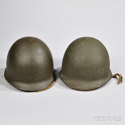 Two M1 Helmets with Fiber Liners