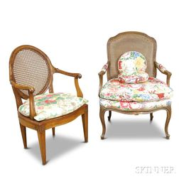 Two French Provincial-style Caned and Upholstered Carved Fruitwood Fauteuil