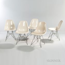 Five Eames Zenith Chairs with Eiffel Tower Base