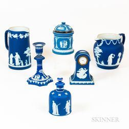 Six Pieces of Wedgwood Blue Jasperware
