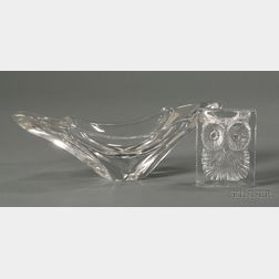 Daum Owl Paperweight and Oval Bowl