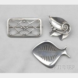 Three Sterling Silver Brooches, Henning Koppel, Georg Jensen, LaPaglia