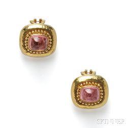 18kt Gold and Pink Tourmaline Earclips, Elizabeth Locke