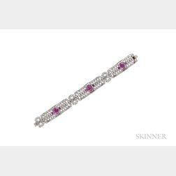 Platinum, Pink Sapphire, and Diamond Bracelet