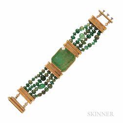 High-karat Gold and Emerald Bracelet