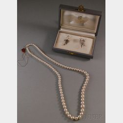 Pair of 14kt White Gold and Pearl Earrings, Mikimoto