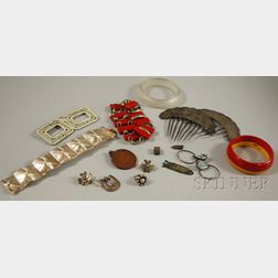Group of Silver, Art Deco, and Ethnographic Jewelry Items
