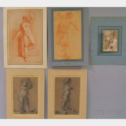 Five Unframed French 18th/19th Century Drawings:      Attributed to Alexandre-Évariste Fragonard (1780-1850), Cupid Thwarted