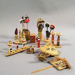 Twelve Japanese Folk Art Mingei   Dolls and Toys