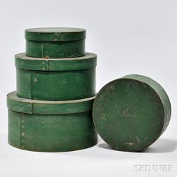 Set of Four Round Green-painted Pantry Boxes