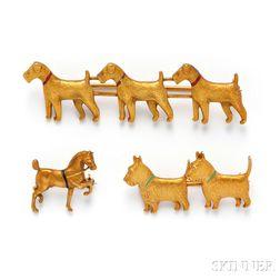Three 14kt Gold Figural Pins, Sloan & Co.