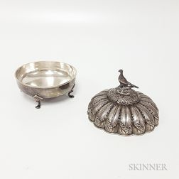 Coin Silver Footed Circular Dish and Separate Silver-plated Lid
