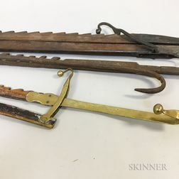 Two Early Wrought Iron Trammels and a Brass and Wood Trammel