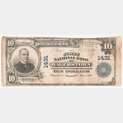1902 The First National Bank of Hagerstown Plain Back $10 Note