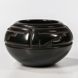Carved Blackware Pottery Bowl