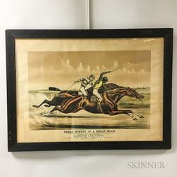 Framed Currier & Ives Great Horses in a Great Race   Lithograph