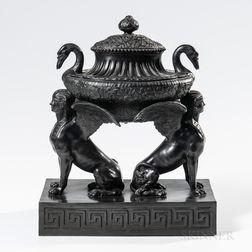 Wedgwood Black Basalt Brainstone   Vase and Cover