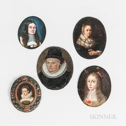 Dutch and Flemish School, 17th Century      Five Miniature Portraits of Women