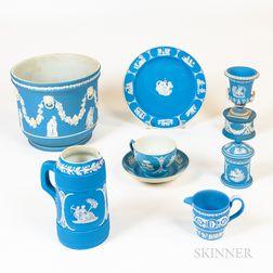 Eight Pieces of Wedgwood Light Blue Jasperware