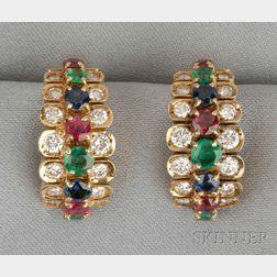 18kt Gold Gem-set Earclips, Van Cleef & Arpels