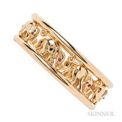 18kt Gold Gem-set Elephant Bracelet