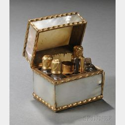 14kt Gold-mounted Mother-of-pearl Vanity Case