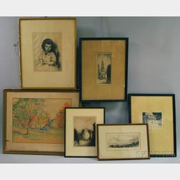 Six Framed Works on Paper,      Arthur W. Heintzelman (American, 1890-1965), Portuguese Fisherman's Daughter