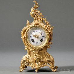 French Gilt-bronze Rococo-style Mantel Clock