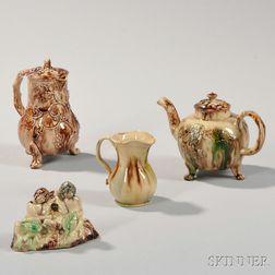 Four Staffordshire Tortoiseshell-glazed Creamware Items